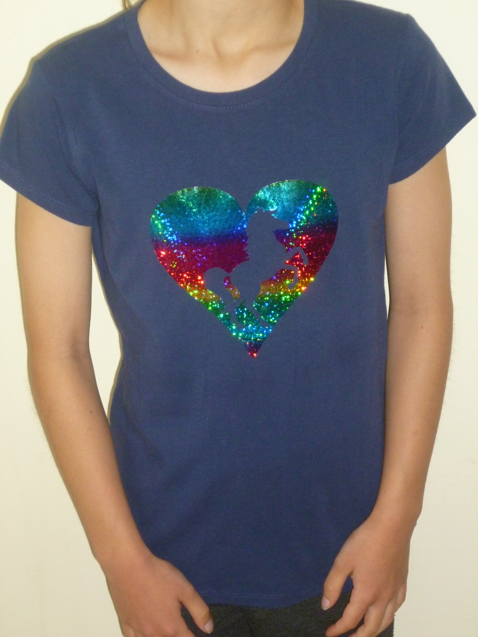 Girls T Shirt With Rainbow Foil Heart Design In Navy Girls Love Ponies