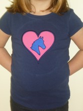 Navy blue T shirt with pink applique heart and embroidered horse head