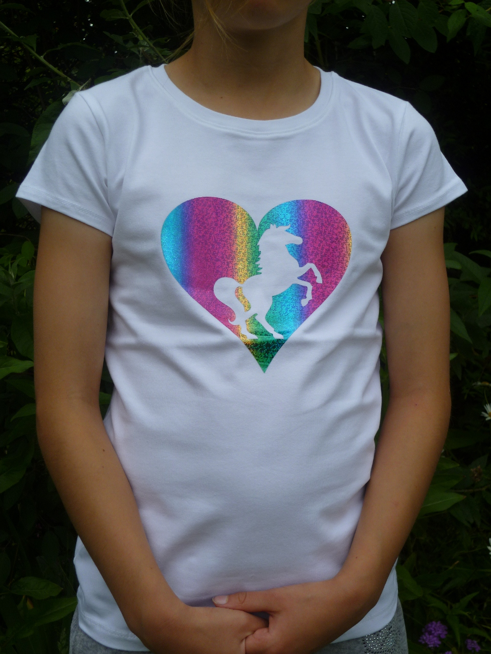 Girls T Shirt With Rainbow Foil Heart Design In White Girls Love
