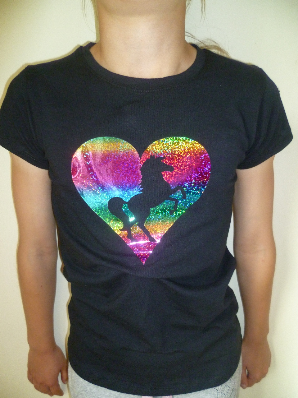 Girls t shirt with rainbow foil heart design in black for Foil print t shirts custom